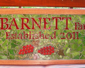 Family name plaque, business sign, address house number sign, welcome sign done in stained glass mosaic