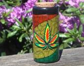 Polymer Clay, Rasta Colors, Marijuana Leaf, Stash Jar