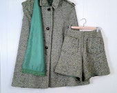 RESERVE POUR DANIELE Mod 60s Wool Green Tweed Herringbone Cape, Shorts and Scarf Set - Handmade by Cill Rice