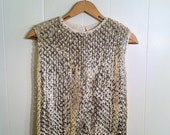 1950s Gold Nights - Sequined Knit Blouse Top Tank - Women - Stylebest