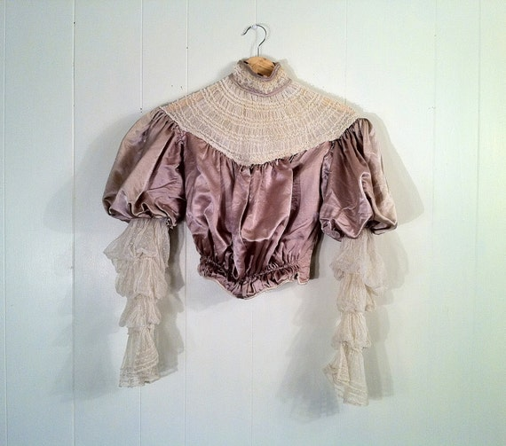 RESERVED Antique 1900s Edwardian Silk and Lace Corset Blouse - Mutton Sleeves - Steampunk