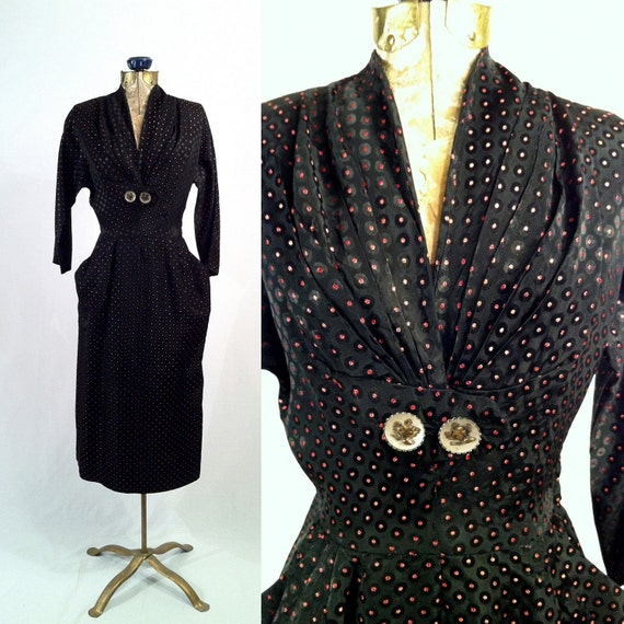 RESERVED 1950s Wiggle Dress-Black with Red Polka Dots-Pockets-Secretary