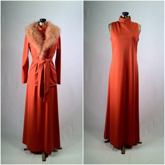 Vintage Apricot Orange 1970s Dress and Matching Jacket - Marabou Fur Trim - Tie Belt - Medium Size - ALGO