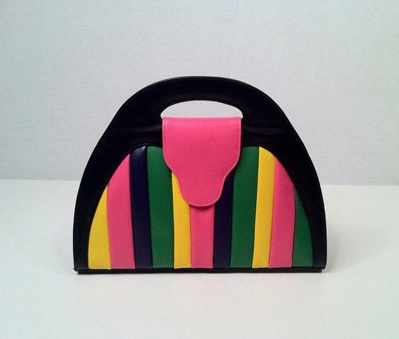 RESERVED Vintage Rocker Rainbow - 1980s Striped and Multi Color Purse Handbag - Half Moon Shape