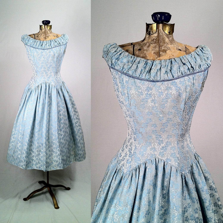 1950s Light Blue Satin Brocade Swing Dress Ruched Collar