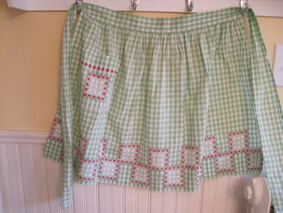 Vintage Green Gingham Apron with Cross Stich Design