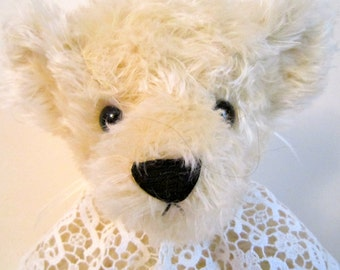 White Handmade Mohair Teddy Bear