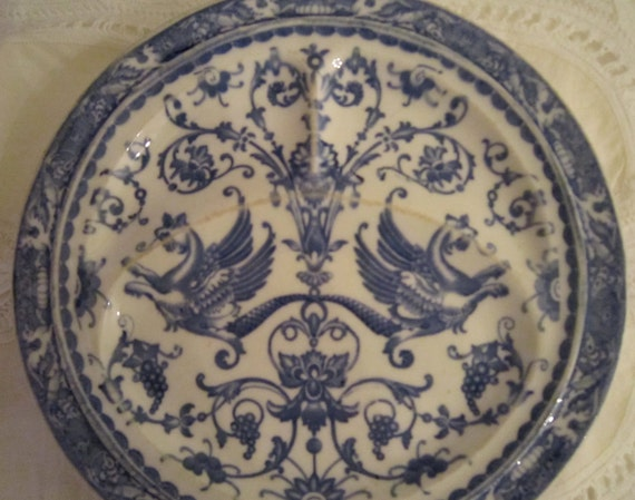 Griffin Plate, Blue and White Collectible
