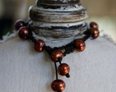 Copper pearls and chocolate leather bracelet