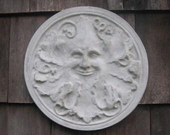 Concrete Round GREEN MAN Plaque