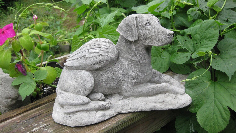 Labrador Retriever Dog Concrete Angel Statue By