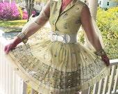 Vintage 60s Green Dress, Alfred Shaheen Garden Party Mad men Frock