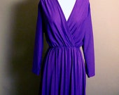 Vintage 70s purple dress / 70s dress / 1970 dress