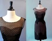 50s dress / 50s 60s dress /  1950s dress /  Illusion Lace Dress / Peggy Hunt / Black Beauty
