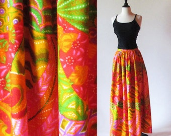 Vintage 60s Psychedelic Maxi Skirt, Long Bright Skirt, Patio Party, Orange Cotton Print Skirt