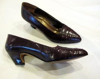 Brown Leather Shoes, 80s Pumps, Dark Brown Heels