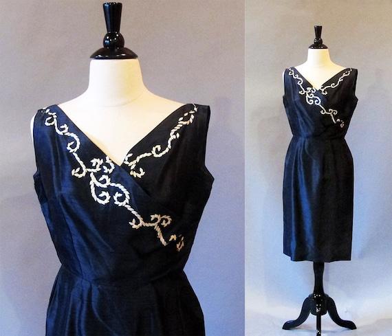 50s dress / 1950 dress / 50s wiggle dress / Navy dress / 1950 sheath / Marilyn Monroe dress