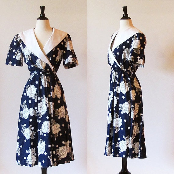 I love Lucy dress / Navy blue dress / sailor collar / faux wrap dress / 80s dress / 50s style