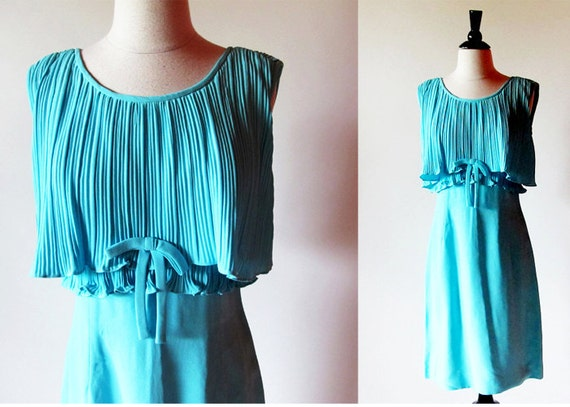 60s turquoise dress / 1960 blue dress
