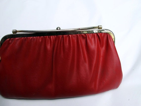 50s red purse / 1950 leather purse/ reversible purse / red clutch