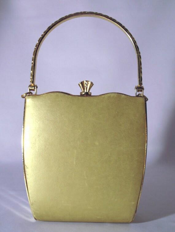 Vintage Evening bag / gold purse / Bill Blass / Vintage elegant purse / gold bag