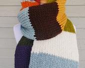 Oversize Knit Scarf - Striped Scarf - Color Block - Mrs. Weasley's IV - Lit Knits - Ready to Ship