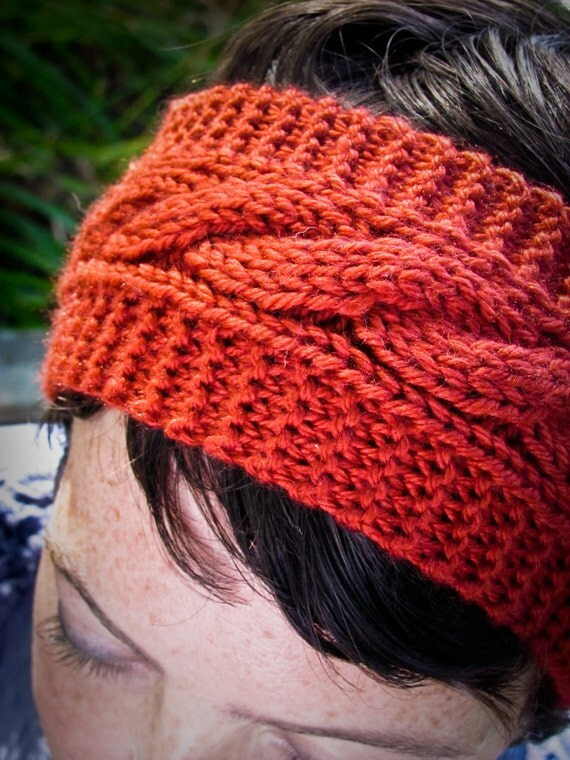 Ear Warmer / Headband with Cables - Wendy Darling's in Paprika - READY TO SHIP
