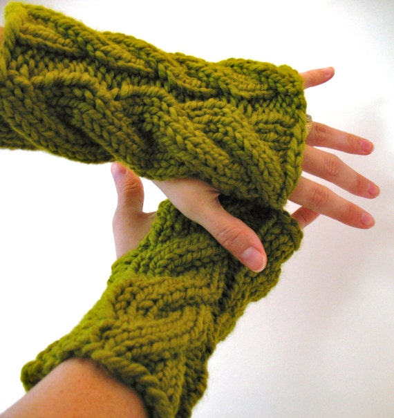 Fingerless Gloves Wrist Warmers with Cables - Entwife's in Avocado Green - READY TO SHIP