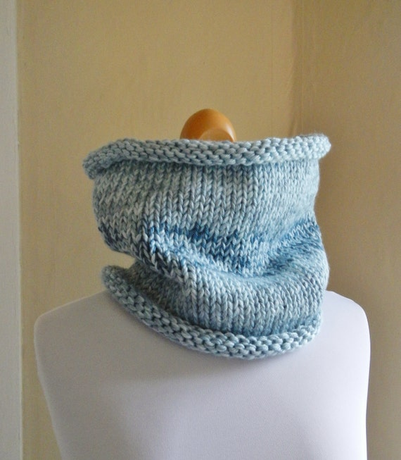 Everyman Knit Cowl Unisex Neckwarmer in Blue Heather - Wool Free - Lit Knits - READY TO SHIP