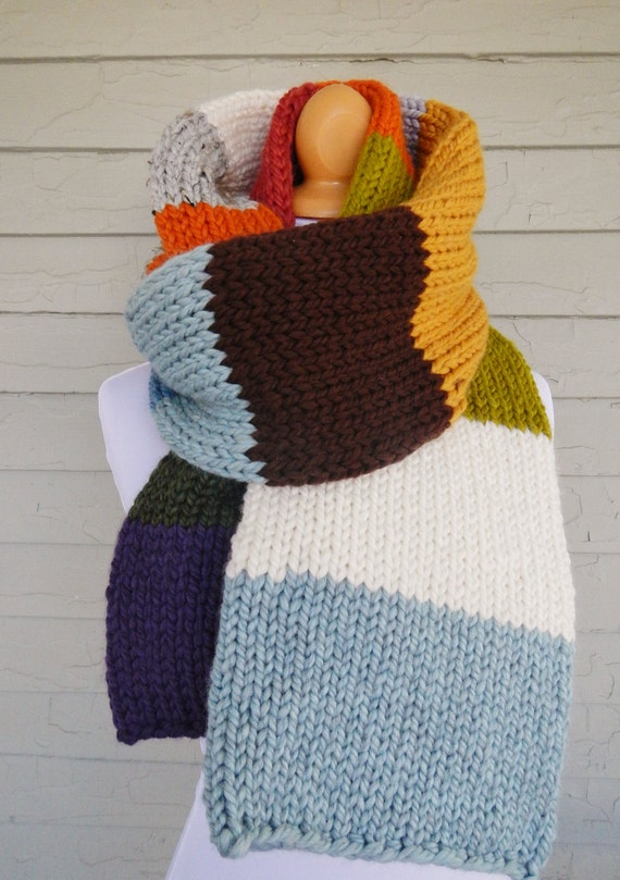 Oversize Knit Scarf - Striped Scarf - Color Block - Mrs. Weasley's IV - Lit Knits - Ready to Ship