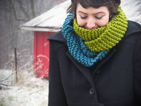 Infinity Scarf Knit Cowl - Colorblock Mobius Cowl - Choose Your Colors - Lovegood Circle Scarf - Lit Knits