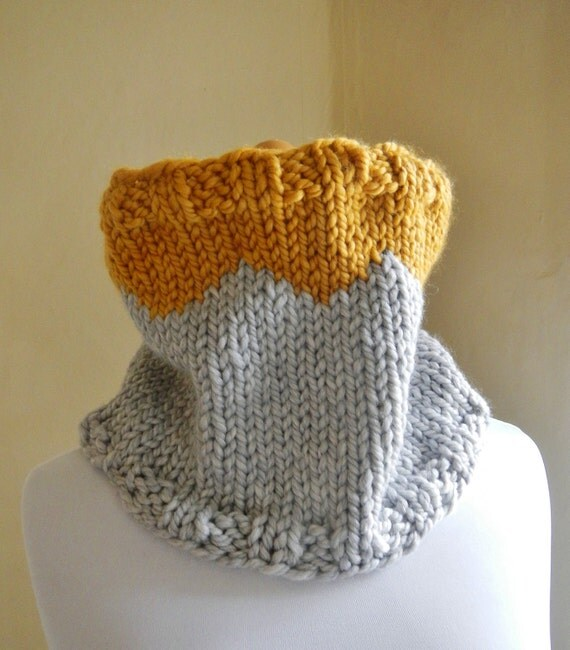 Geometric Knit Cowl / Tube Scarf - Triangle Tribal Pattern - Lost Boys in Mustard Yellow and Gray - READY TO SHIP