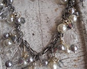 Faux pearl faceted glass beaded necklace