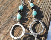 Amazonite pyrite oxidized silver hammered connector necklace