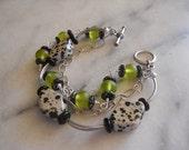 Dalmation jasper green glass speckled glass oxidized silver toggle clasp bracelet