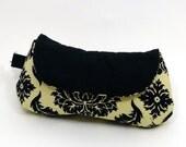 damask curvy clutch wristlet