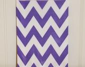 24 Chevron Purple Stripe Favor Bags - Treat Bags - Holiday, Birthday - Wedding - Baby Shower