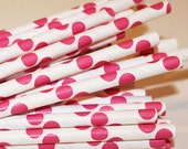 Paper Straws, 25 Hot Pink Polka Dot Paper Straws, Paper Drinking Straws, MADE IN USA, Weddings, Pink Baby Shower Straws,  Bachelorette Party