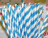 50 Blue and White barber striped paper drinking straws with Blank Paper Flags - Wedding, Baby Shower, Milk and Cookies -  Made In Usa