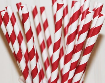25 Paper Straws RUBY RED drinking straws with Blank Paper Flags - Wedding, Baby Shower, Christmas Party, Made In Usa
