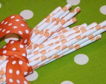 50 Paper Straws Orange Polka Dot, Drinks, Wedding, Birthday, Party, Made In USA