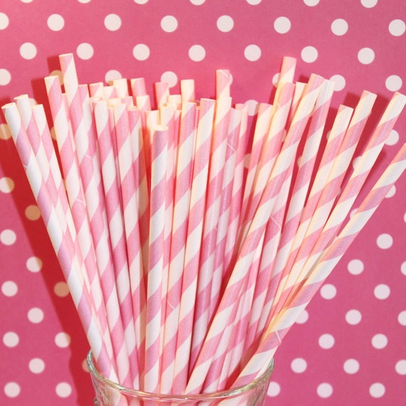 Pink And White Striped Paper Straws 100 Paper Straws Pink And