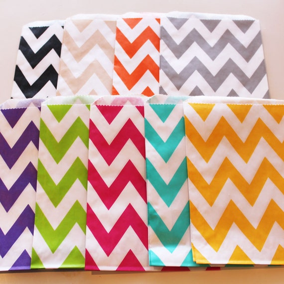 Chevron Stripe Favor Bags - 50  YOU PICK your COLOR - Designer Party Favor Bags, Weddings, Birthday, Made in Usa