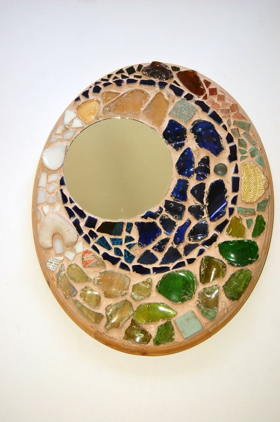 Colorful Handmade Spiral Mosaic and Mirror on Wood Block with Recycled Found Glass, Tiles, and Shells- Wall Hanging