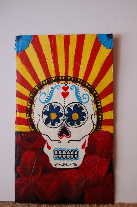 Colorful Dia de los Muertos - Day of the Dead - One of a Kind Skull and Red Roses Painting on Recycled Cardboard - Eco-friendly Art