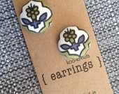 Navy and olive flower print - fabric post earrings - koo-ki-nuts jewellery