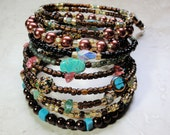 BRACELET  - Bronze Pearl Amber Turquoise Bead Coil Wrap Jewelry Bracelet - Free Shipping