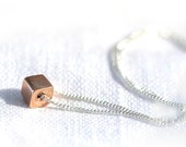 Rose Gold Cube Necklace - Pink 24K Rose Gold Vermeil Square Bead on Sterling Silver Chain - Simple Geometric Design