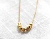 Nuggets Simple Gold Necklace / Gold Vermeil Faceted Beads on Gold Filled Chain