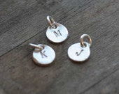 Hand Stamped Silver Disc Charm - One (1) Charm